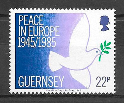 sellos fauna Guernsey 1985