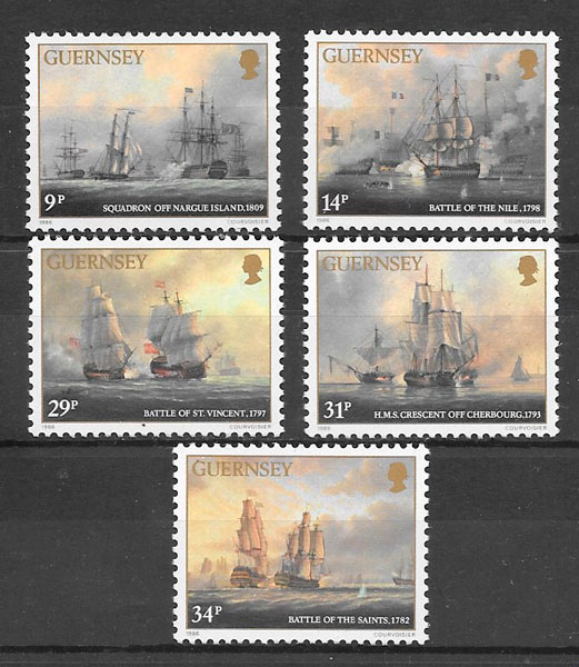 colección sellos transporte Guernsey 1986