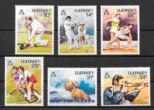 sellos deporte Guernsey 1986