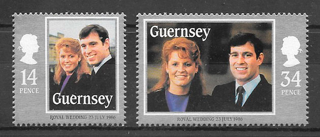 filatelia personalidades Guernsey 1986