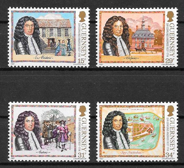 filatelia colección Guernsey 1987