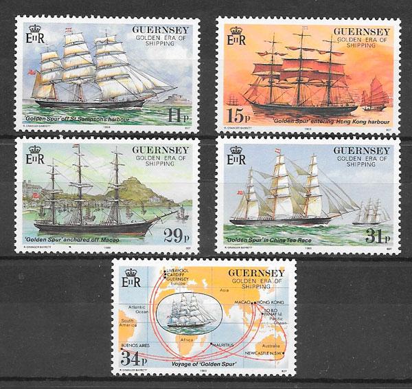 filatelia colección transporte 1988 Guernsey