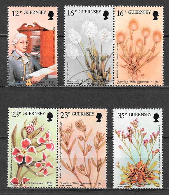 sellos flora Guernsey 1988