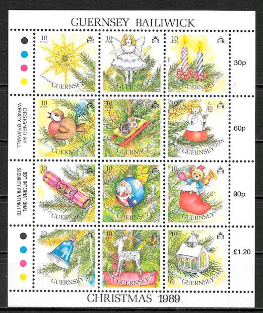 colección sellos navidad Guernsey 1989