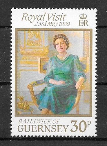 sellos personalidades Guernsey 1989