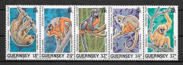 filatelia fauna Guernsey 1989