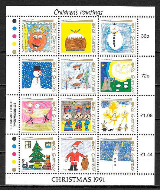 sellos navidad Guersey 1991
