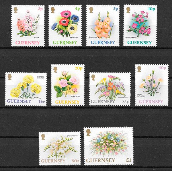 filatelia colección flora Guernsey 1992