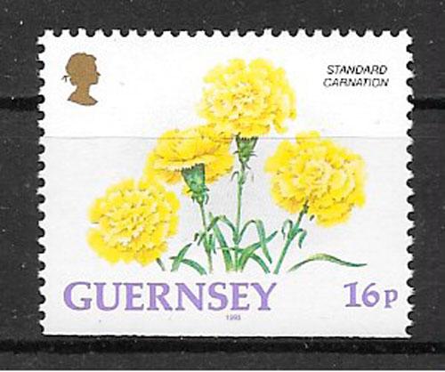 filatelia colección flora Guernsey 1993