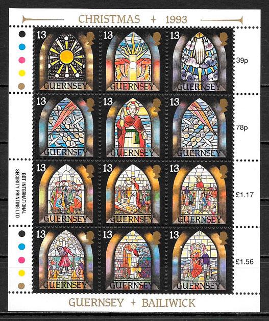 filatelia colección navidad Guernsey 1993
