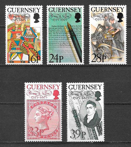 colección sellos personalidades Guernsey 1993