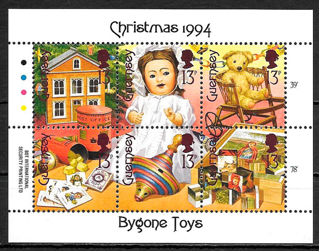 colección sellos navidad Guernsey 1994