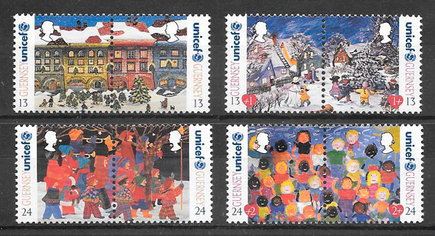 sellos navidad Guernsey 1995