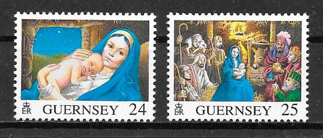 colección sellos navidad Guernsey 1996