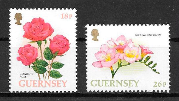 colección sellos flora Guernsey 1997