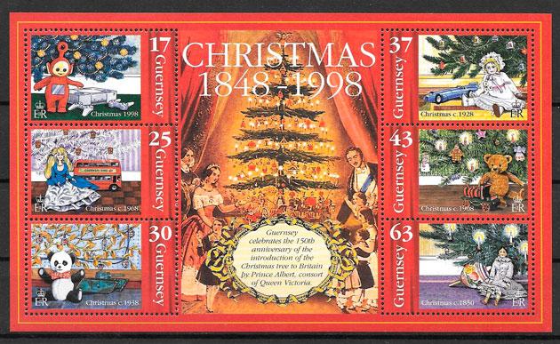 filatelia navidad Guersey 1998