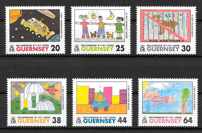 filatelia colección temas varios Guernsey 2000