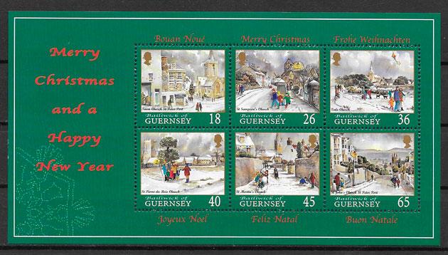 filatelia colección navidad Guersey 2000