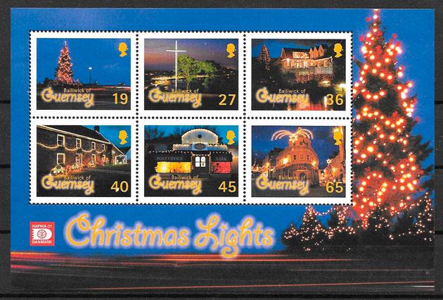 coleción sellos navidad Guersey 2001