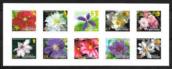 filatelia colección flora Guersey 2004
