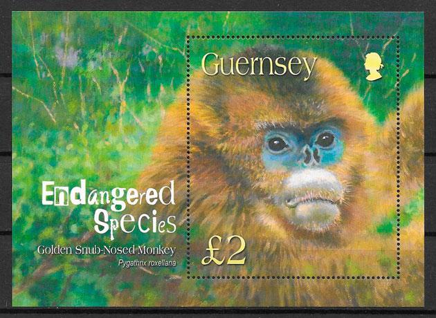 filatelia colección fauna Guersey 2004