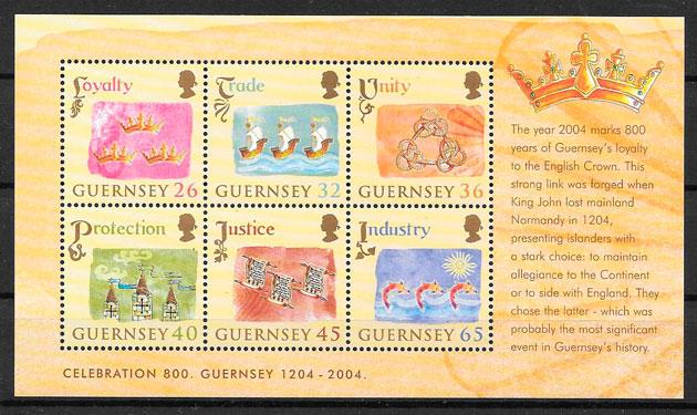 colección selos temas varios Guersey 2004