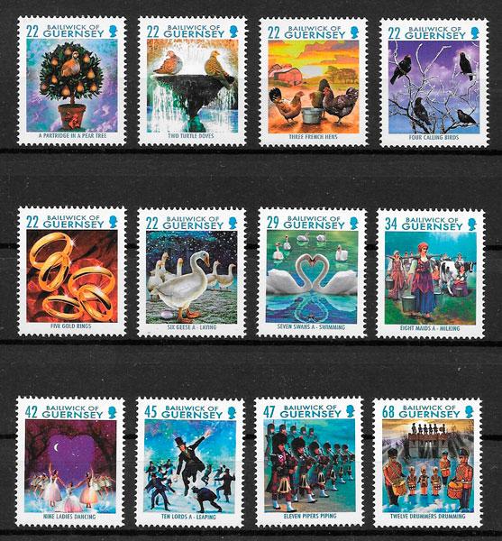 filatelia colección navidad Guernsey 2006
