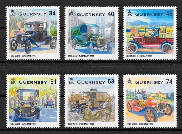 colección sellos transporte Guernsey 2008