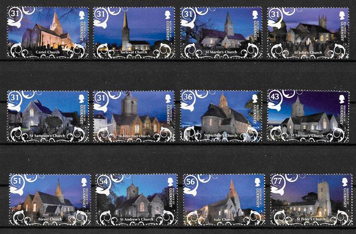 filatelia colección navidad Guernsey 2009