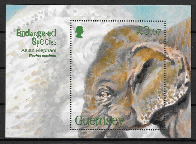colección sellos fauna Guersey 2010