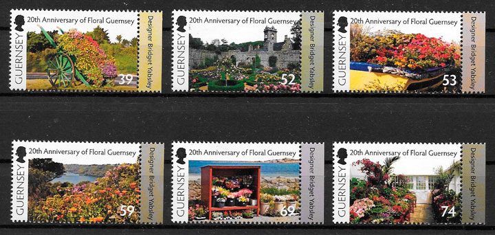 filatelia colección flora Guernsey 2012