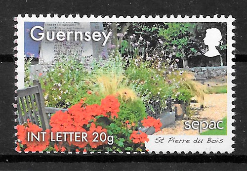 filatelia flora Guernsey 2014