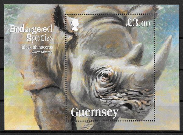 colección sellos fauna Guersey 2018