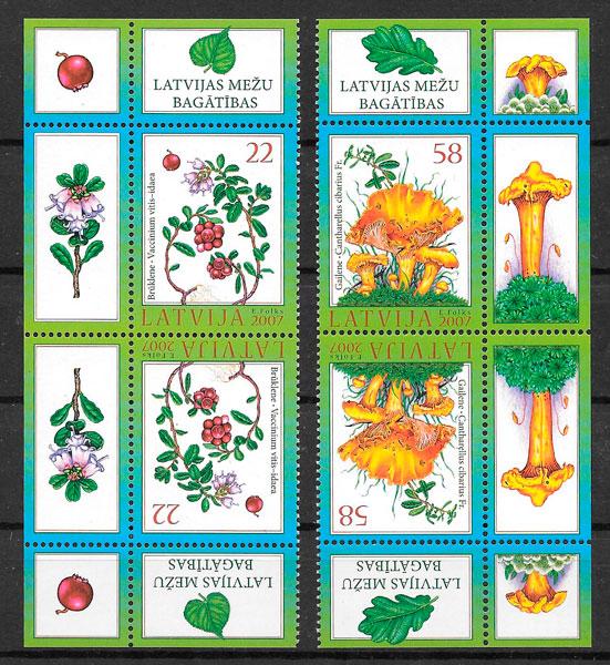 sellos setas Letonia 2007