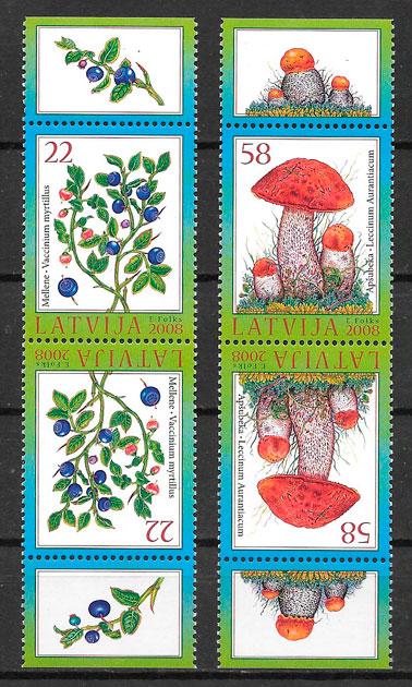 sellos setas Letonia 2009