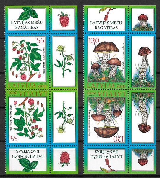 sellos setas Letonia 2010