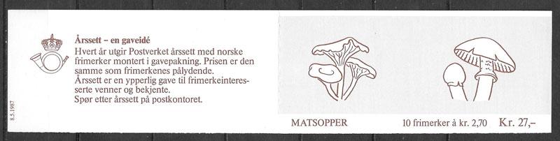 filatelia colección setas Noruega 1987