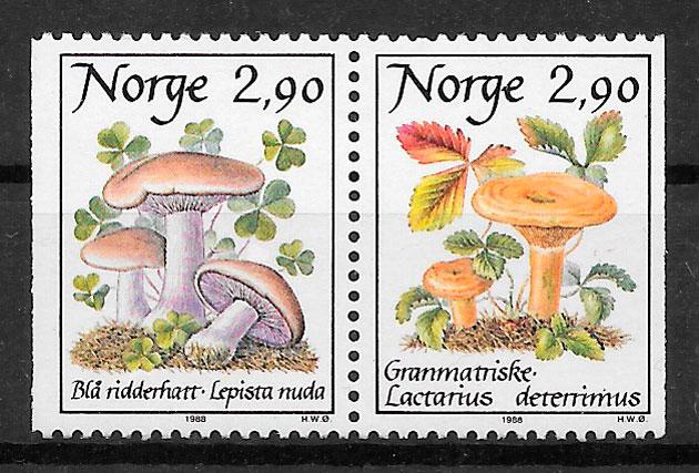 filatelia setas Noruega 1988