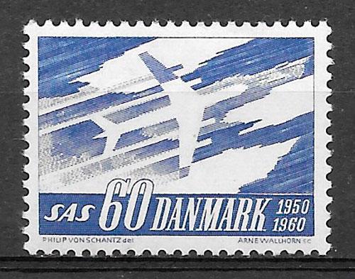 colección sellos transporte Dinamarca 1961