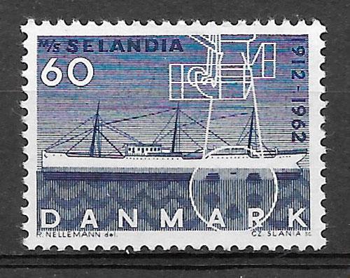colección sellos transporte Dinamarca 1962