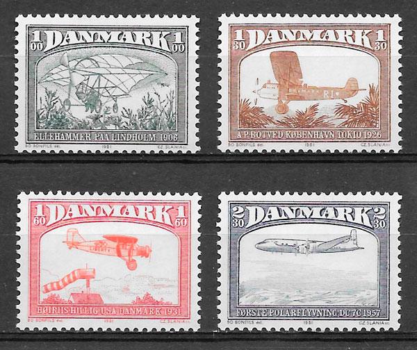colección sellos transporte Dinamarca 1981