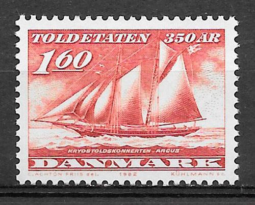 colección sellos transporte Dinamarca 1982