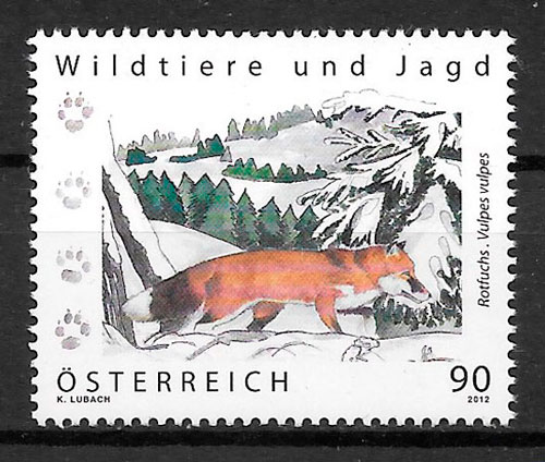 colección selos fauna Austria 2012