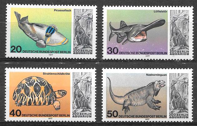sellos fauna Alemania Berlin 1977