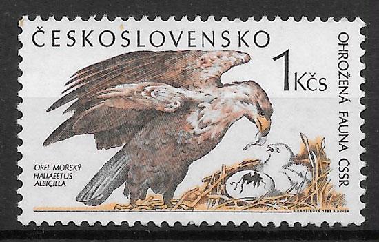 sellos fauna Checoslovaquia 1989