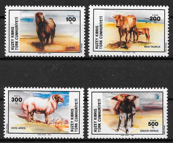 sellos fauna Chipre Turco 1985