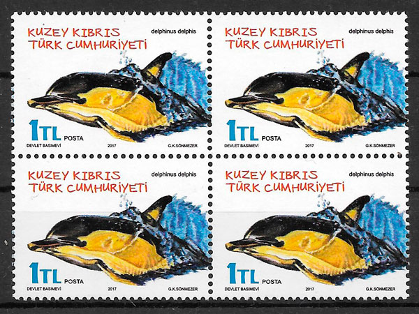 filatelia colección fauna Chipre Turco 2017