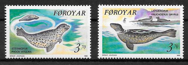 filatelia colección fauna Feroe 1992