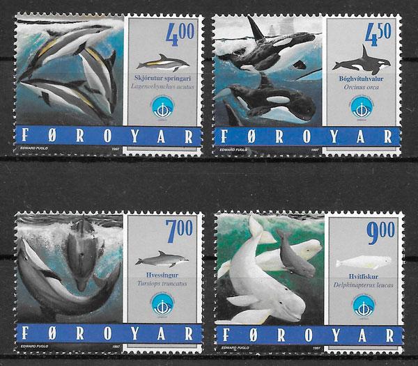 filatelia colección fauna Feroe 1998