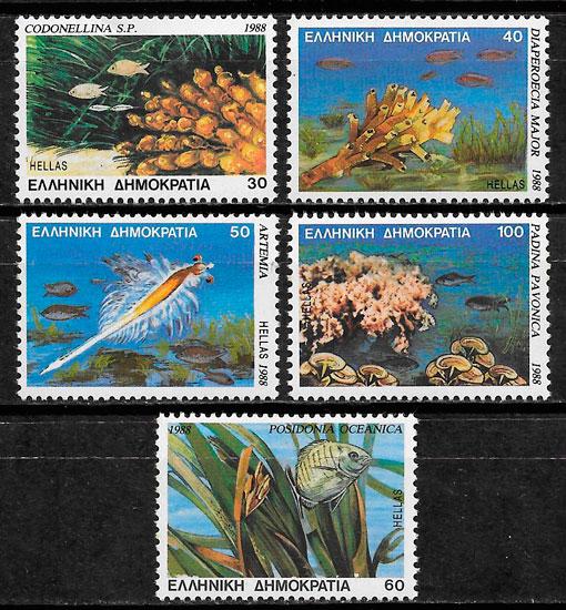 colección selos fauna Grecia 1988